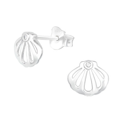 Silver Shell Ear Studs with Cubic Zirconia