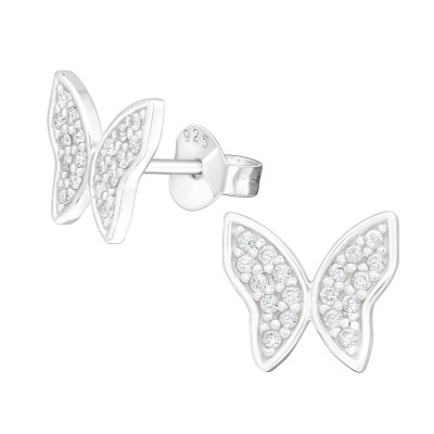 Silver Butterfly Ear Studs with Cubic Zirconia