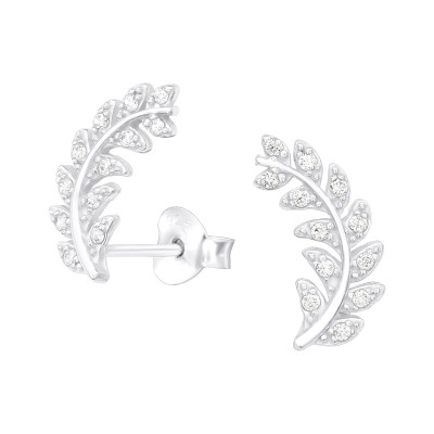 Silver Olive Leaf Ear Studs with Cubic Zirconia