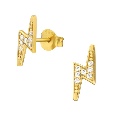 Silver Lightning Bolt Ear Studs with Cubic Zirconia