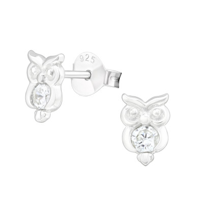 Silver Owl Ear Studs with Cubic Zirconia