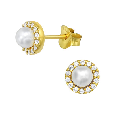 Silver Geometric Ear Studs with Cubic Zirconia and Synthetic Pearl