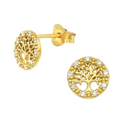Silver Tree Of Life Ear Studs with Cubic Zirconia