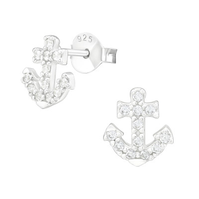 Silver Anchor Ear Studs with Cubic Zirconia