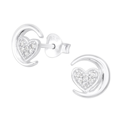 Silver Moon and Heart Ear Studs with Cubic Zirconia
