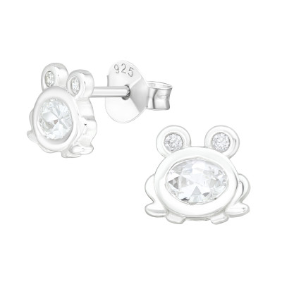 Silver Frog Ear Studs with Cubic Zirconia