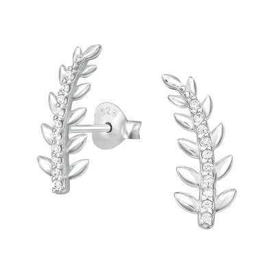 Silver Leaf Ear Studs with Cubic Zirconia