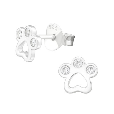 Silver Paw Print Ear Studs with Cubic Zirconia