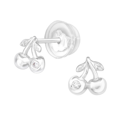 Premium Children's Silver Cherry Ear Studs with Cubic Zirconia