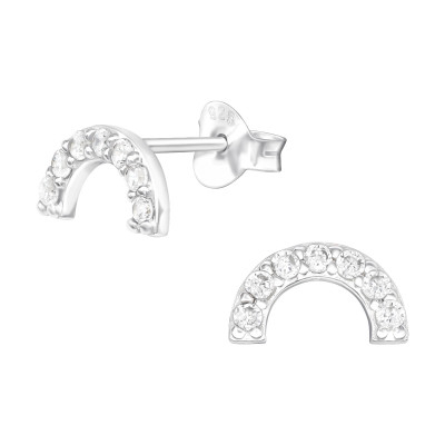 Silver Curved Ear Studs with Cubic Zirconia