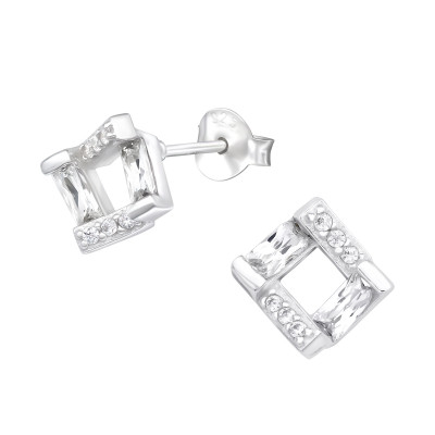 Silver Square Ear Studs with Cubic Zirconia