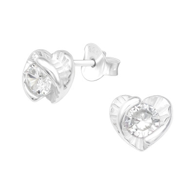 Silver Heart Ear Studs with Cubic Zirconia