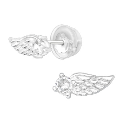 Premium Children's Silver Wing Ear Studs with Cubic Zirconia