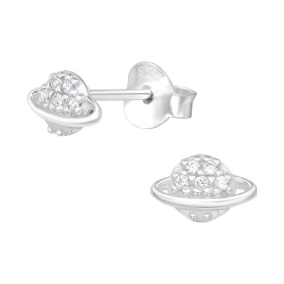 Silver Saturn Ear Studs with Cubic Zirconia