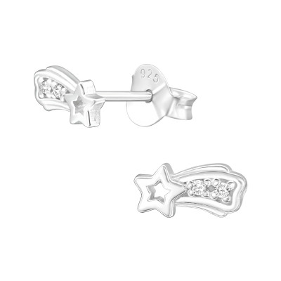 Silver Shooting Star Ear Studs with Cubic Zirconia