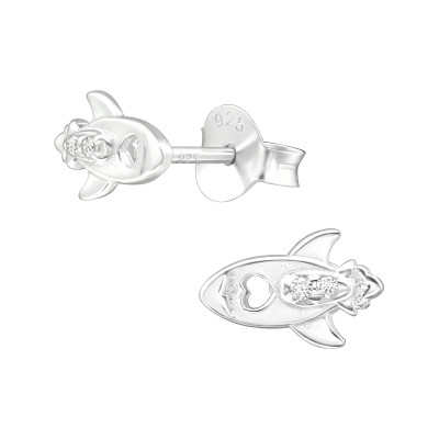 Silver Rocket Ear Studs with Cubic Zirconia