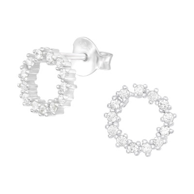 Silver Sparking Ear Studs with Cubic Zirconia