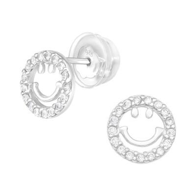 Premium Children's Silver Smile Ear Studs with Cubic Zirconia