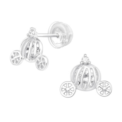 Premium Children's Silver Pumpkin Carriage Ear Studs with Cubic Zirconia