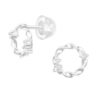 Premium Children's Silver Circle Ear Studs with Cubic Zirconia