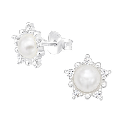 Silver Flower Ear Studs with Cubic Zirconia and Synthetic Pearl