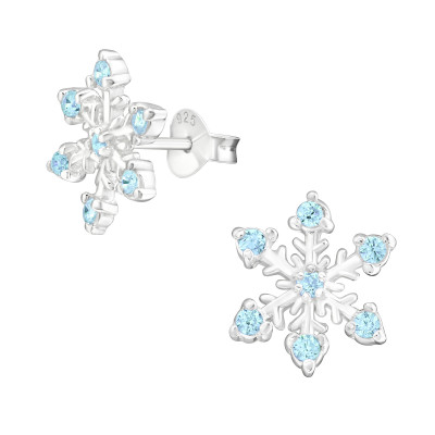 Silver Snowflake Ear Studs with Cubic Zirconia