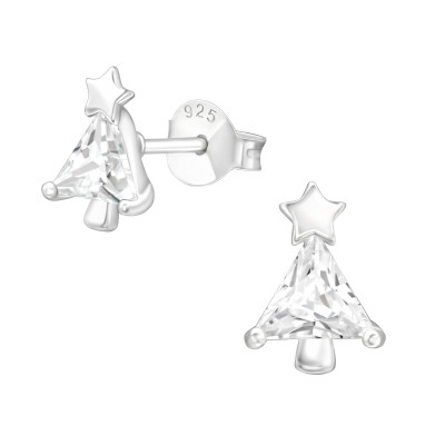 Silver Christmas Tree Ear Studs with Cubic Zirconia
