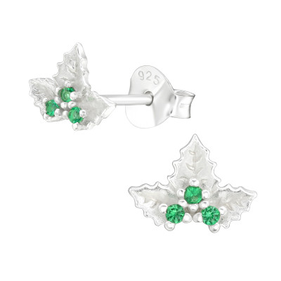 Silver Holly Bead Ear Studs with Cubic Zirconia