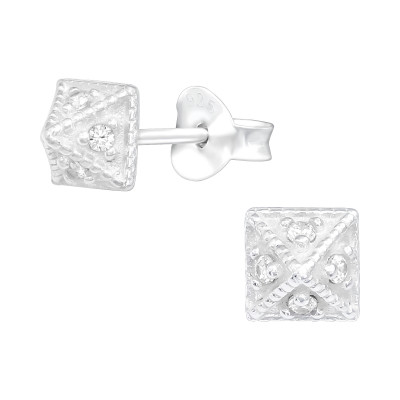 Silver Pyramid Ear Studs with Cubic Zirconia