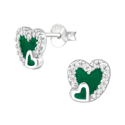 Silver Heart Ear Studs with Cubic Zirconia and Epoxy