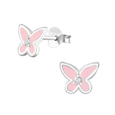 Silver Butterfly Ear Studs with Cubic Zirconia and Epoxy