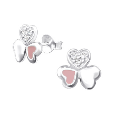 Silver Triple Heart Ear Studs with Cubic Zirconia and Epoxy