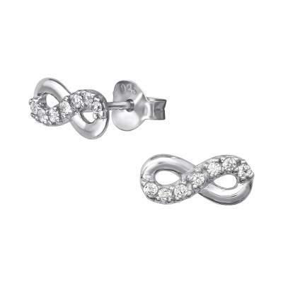 Silver Infinity Ear Studs with Cubic Zirconia