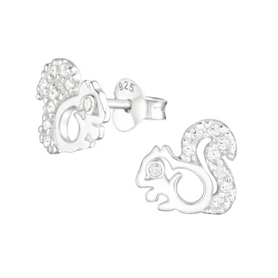 Silver Squirrel Ear Studs with Cubic Zirconia