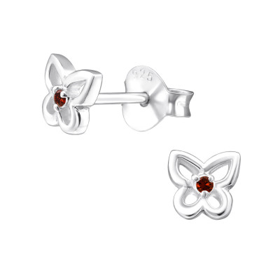 Silver Birthstone Butterfly Ear Studs with Cubic Zirconia