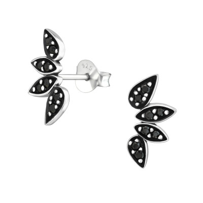 Silver Oxidized Ear Studs with Cubic Zirconia