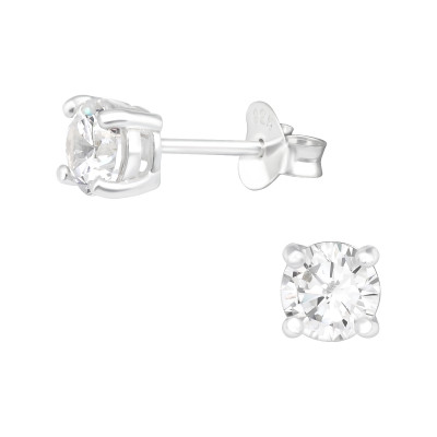 Silver Round 5mm Ear Studs with Cubic Zirconia