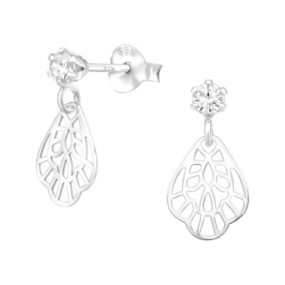Silver Round Hanging Laser Cut Flower Ear Studs with Cubic Zirconia