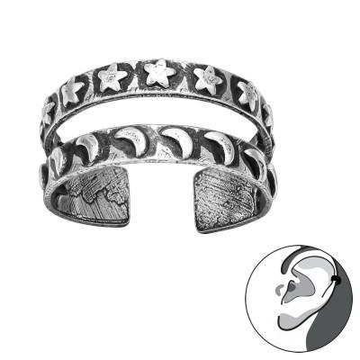 Silver Star and Moon Ear Cuff