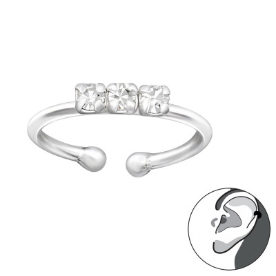 Silver Sparkling Ear Cuff with Crystal