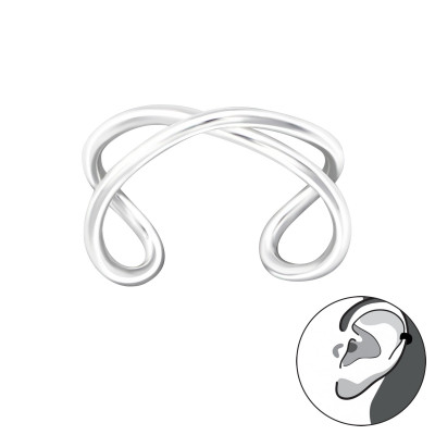 Silver Cross Ear Cuff