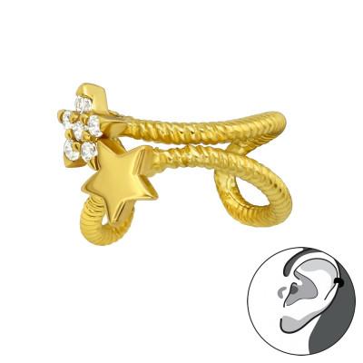 Silver Star Ear Cuff with Cubic Zirconia