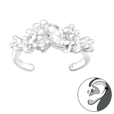 Silver Marquise Ear Cuff with Cubic Zirconia