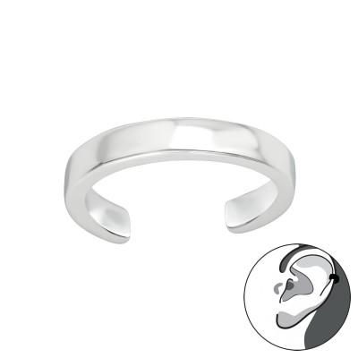 Silver Plain Cut Ear Cuff