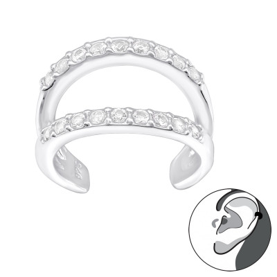 Silver Double Line Ear Cuff with Cubic Zirconia