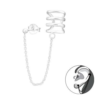Silver Ball Ear Studs with Silver Quadruple Line Ear Cuff