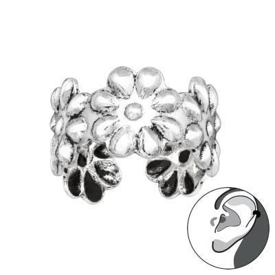 Silver Flower Ear Cuff