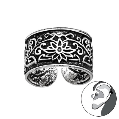 Silver Flower Patterns Ear Cuff