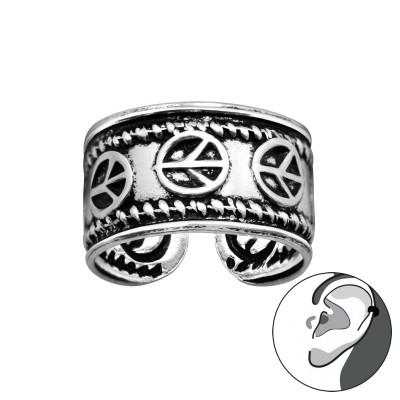 Silver Peace Symbol Ear Cuff