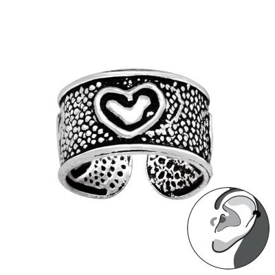 Silver Heart Ear Cuff